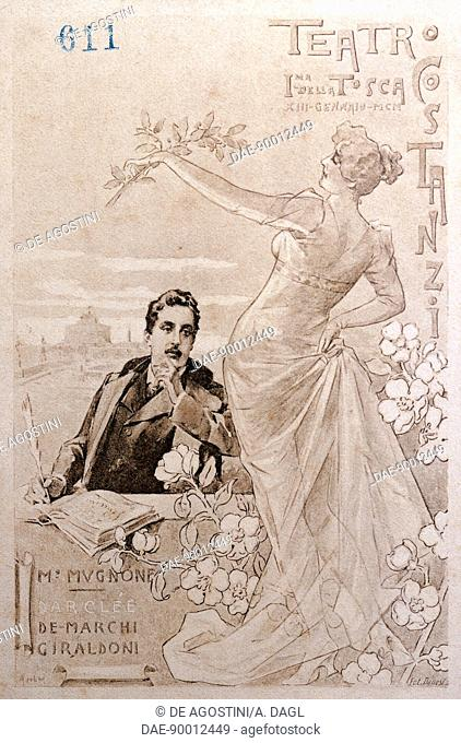 Postcard created on the occasion of the premiere of the opera Tosca, by Giacomo Puccini (1858-1924), performed at the Costanzi Theatre in Rome, January 1900