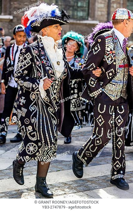 Pearly Kings and Queens Sing Traditional Songs At They Parade Around The Guildhall Yard During The Annual Pearly Kings and Queens' Harvest Festival, London