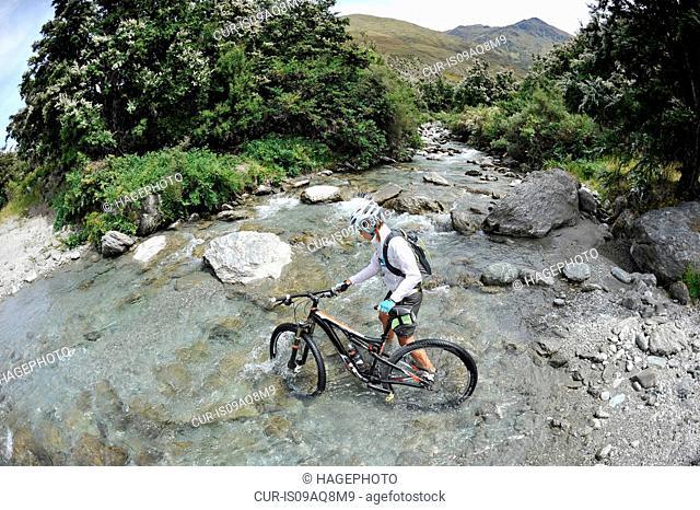 Woman pushing mountain bike through water, New Zealand