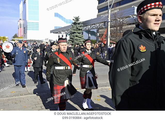 Soldiers and cadets march on Remembrance Day, Windsor, Canada