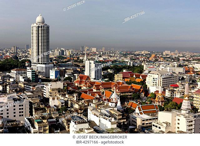 River Park Condominium, tower at Menam Chao Phraya, Wat Chakrawat, Chakkrawat Temple, panoramic view from Grand China Hotel, Chinatown, Bangkok, Thailand