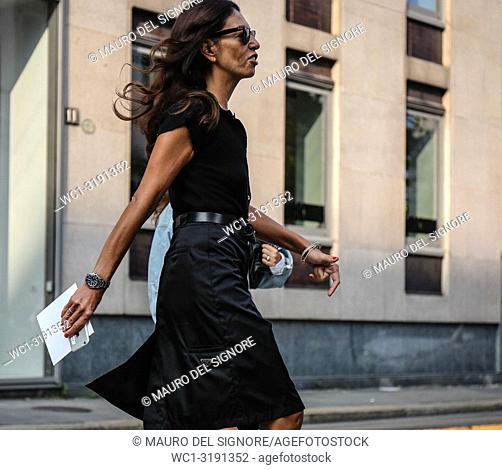 MILAN, Italy- September 20 2018: Viviana Volpicella on the street during the Milan Fashion Week