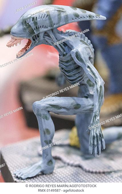 September 29, 2018, Tokyo, Japan - An action figure of a Proto Alien on display during the 58th All Japan Model and Hobby Show in Tokyo Big Sight