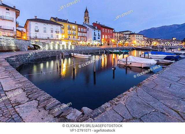 The small port of Ascona in front of Lago Maggiore, Canton Ticino, Switzerland