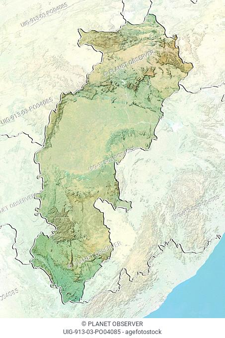 Relief map of the State of Chhattisgarh, India. This image was compiled from data acquired by LANDSAT 5 & 7 satellites combined with elevation data