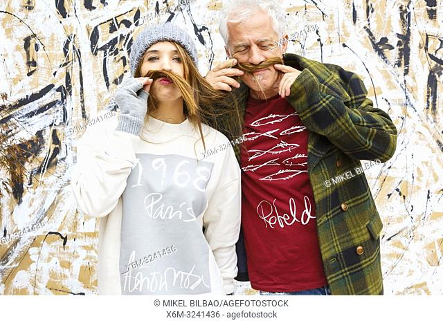 Two people posing