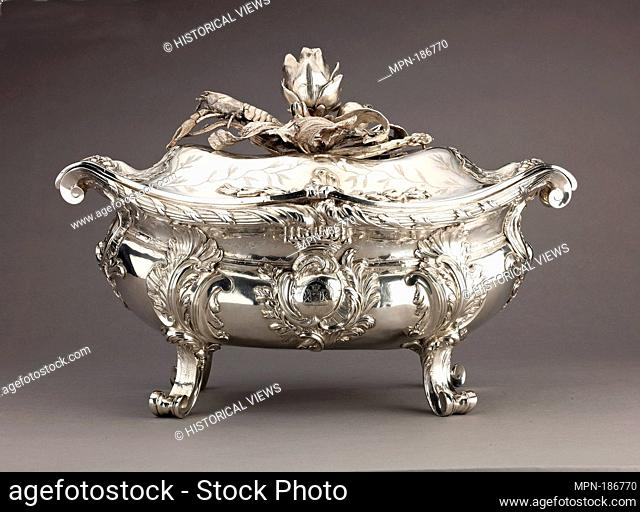 Silver Tureen (a), lid (b) [pair with 1975.1.2560a-c]. Artist: Étienne-Jacques Marcq (born ca. 1705-1781); Date: 1749; Culture: French, Paris; Medium: Silver