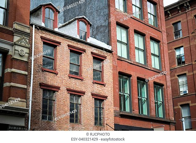 Historic cast iron buildings in New York City's Soho District