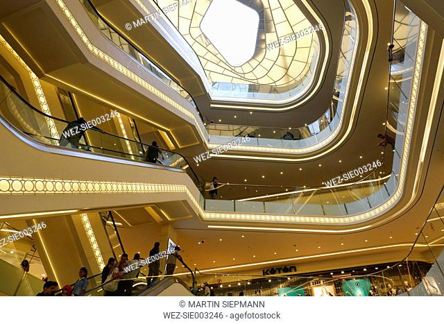 Turkey, Istanbul, Staircase of Demiroren Istiklal Shopping Center