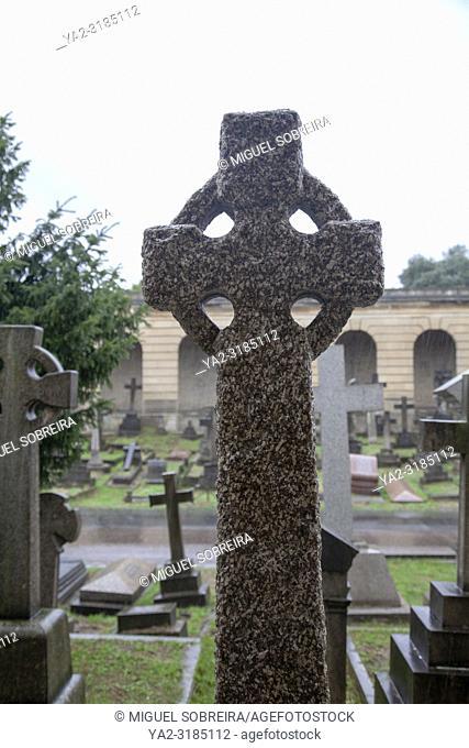 Headstones at Brompton Cemetery - London UK