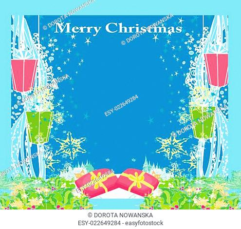 Abstract Christmas card ,star, gifts, snow