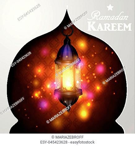Vector illustration magic lantern on dark background in paper window