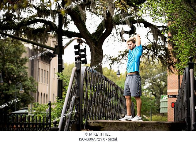 Jogger along the river walk, Savannah, Georgia, USA