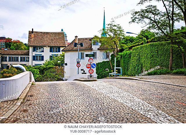 Cobblestone street of Zurich,Switzerland, federal republic, Western Europe