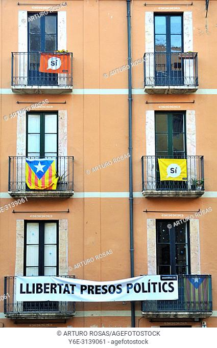 Banner for catalan politics liberty and estelada flag