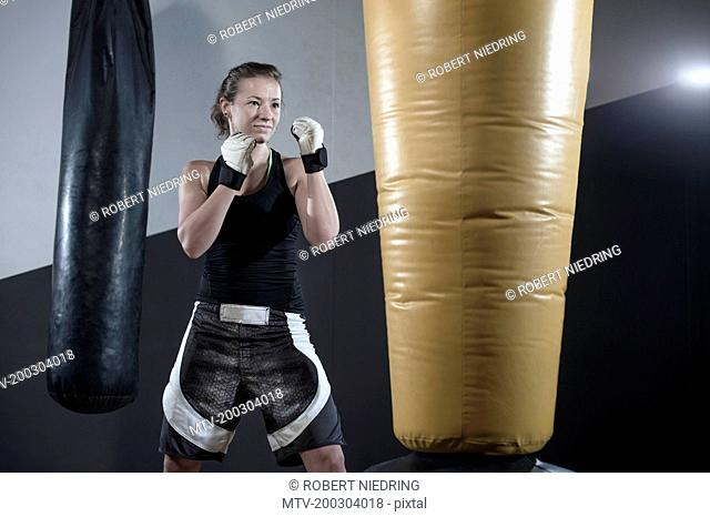 Young woman doing strength training by punching on punch bag in the gym, Bavaria, Germany