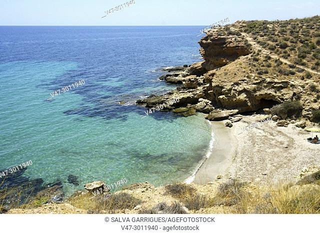 Lonely cove, virgin beach of Mazarrón, Murcia, Spain