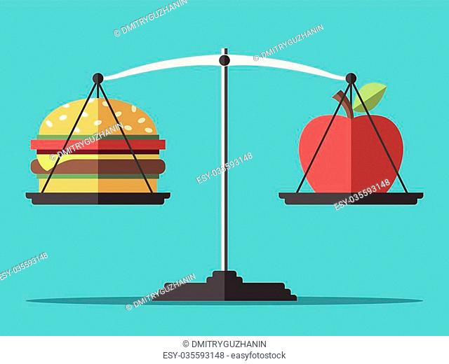 Hamburger and apple on scales. Balance between fast and healthy food. Diet, nutrition, fitness and health concept. EPS 8 vector illustration, no transparency
