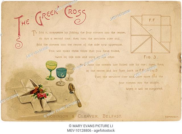 'Serviettes, and how to fold them: the Greek Cross'