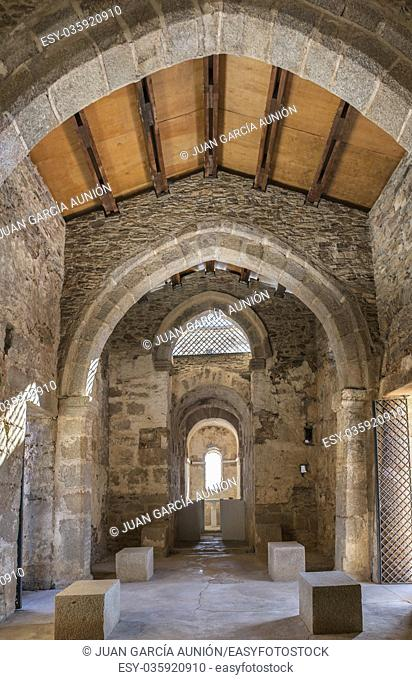 Alcuescar, Spain - September 17, 2017: Visigothic Basilica of Santa Lucia del. Trampal. Main nave view