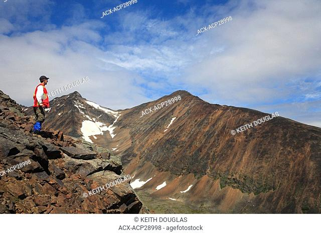 Geologist doing fieldwork, Hudson Bay Mountain, Smithers, British Columbia
