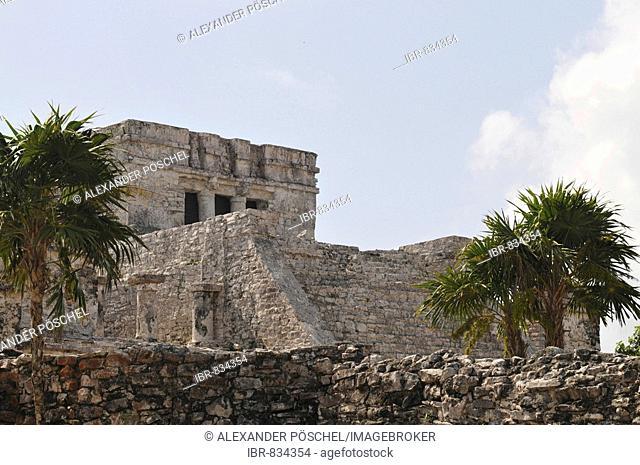 The Castle, El Castillo, Tulum, Mayan archaeological excavation, Quintana Roo, Yucatan Peninsula, Mexico, Central America
