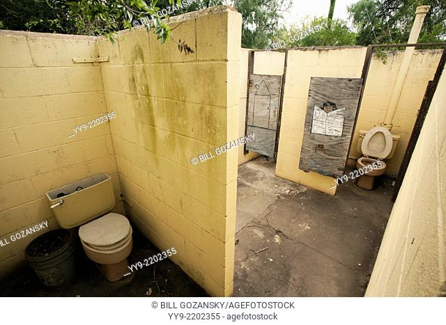 Old restroom area in disrepair - Camp Lula Sams - Brownsville, Texas USA