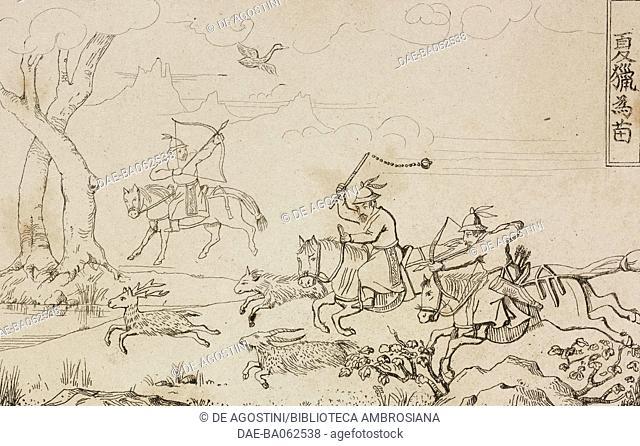Summer hunting, China, engraving from Chine, ou, Description historique, geographique et litteraire de ce vaste empire, d'apres des documents chinois