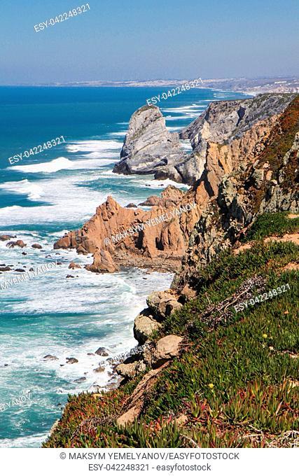Cabo da Roca, the western point of mainland Europe, Atlantic ocean, Portugal