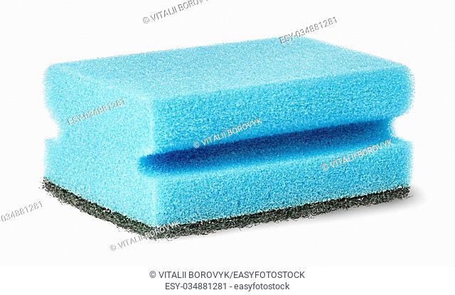 Sponge for washing dishes with felt horizontally isolated on white background