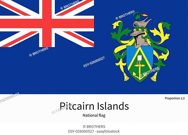 National flag of Pitcairn Islands with correct proportions, element, colors for education books and official documentation