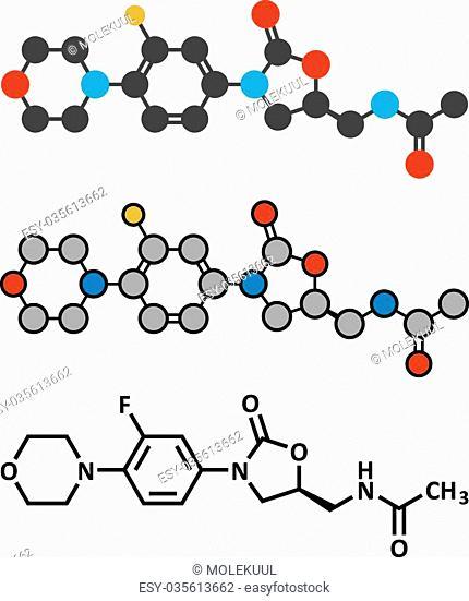 Linezolid antibiotic drug (oxazolidinone class) molecule. Conventional skeletal formula and stylized representations