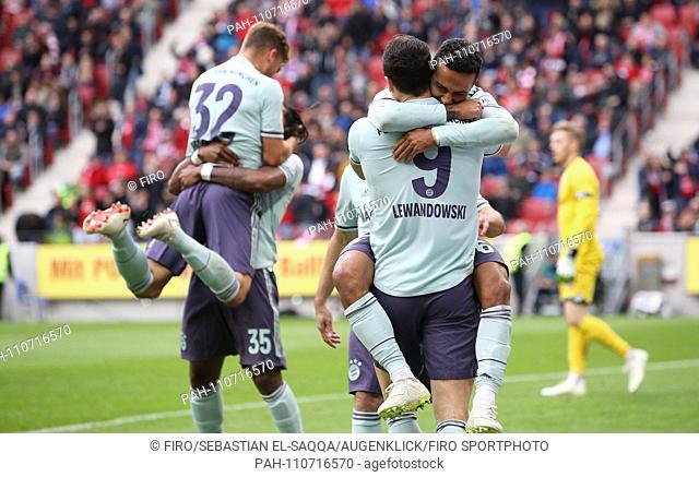 firo: 27.10.2018 Soccer, Football: 1. Bundesliga, Season 2018/2019 FSV FSV FSV Mainz 05 - FC Bayern Munich Muenchen jubilation, goaljubel to FCB Thiago