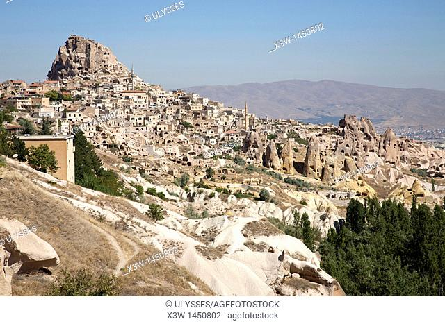 landscape and uchisar village, cappadocia, anatolia, turkey, asia