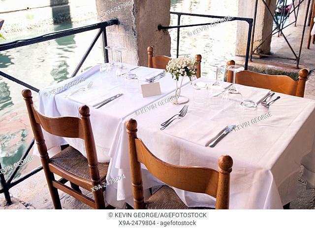 Restaurant Table in Venice, Italy