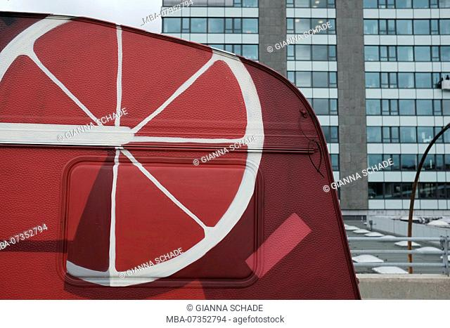 Bar on the wholesale market, food truck, red painted, detail