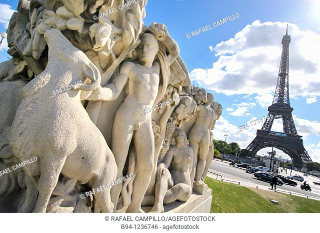Eiffel Tower and sculptures, Trocadero, Paris, France