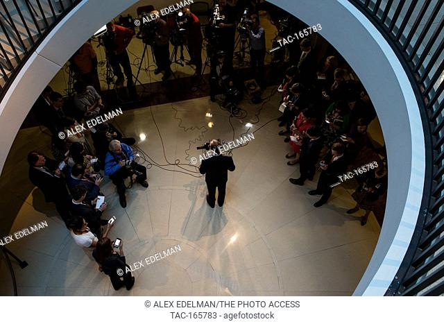 Representative Adam Schiff (D-CA) speaks with reporters following a House Intelligence Committee briefing by CIA Director Mike Pompeo at the U.S