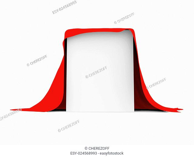 White box covered with red cloth. Isolated render on a white background