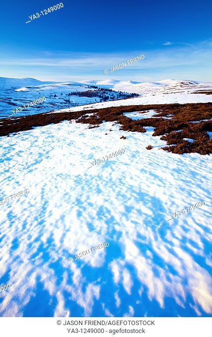 Scotland, Scottish Highlands, Cairngorms National Park  Late afternoon light illuminates the rolling eastern hills of the Cairngorms National Park