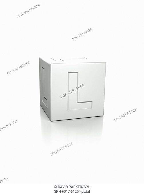Cube with the letter L embossed