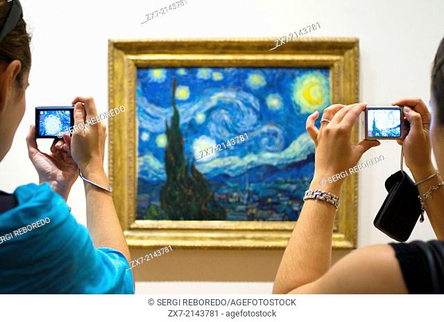 Painting '' Starry Night '' by Van Gogh at the Museum of Modern Art MOMA