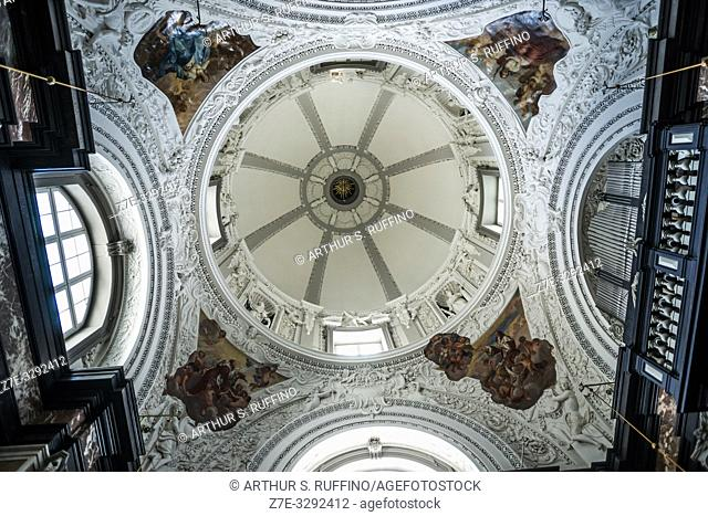 Low-angle view of ceiling of Chapel of St. Casimir, Vilnius Cathedral, Old Town, Vilnius, Lithuania, Baltic States, Europe