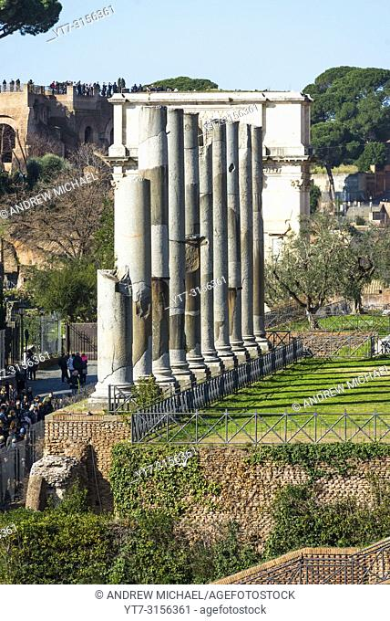 Temple of Venus and Roman Corinthian Columns, Roman Forum, Rome Italy. Largest temple in ancient Rome, dedicated in 141AD by Emperor Hadrian