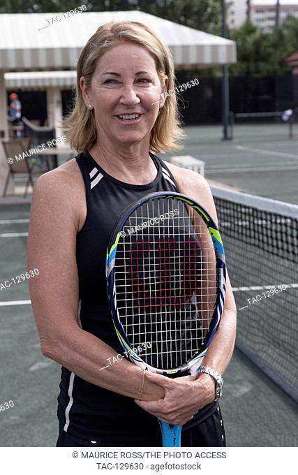 Chris Evert posing for photos at the Chris Evert Pro-Am Celebrity Tennis Classic on November 20, 2015 at the Boca Raton Resort & Club in Boca Raton, Florida