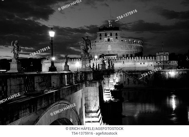 Castel Sant Angelothe Tiber River and Ponte Sant Angelo illuminated at dawn