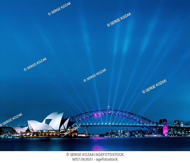 Sydney Opera House and Harbour Bridge at dusk with many spotlights on the bridge lighting upwards