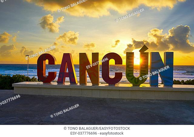 Cancun Delfines Beach word sign sunrise in Mexico