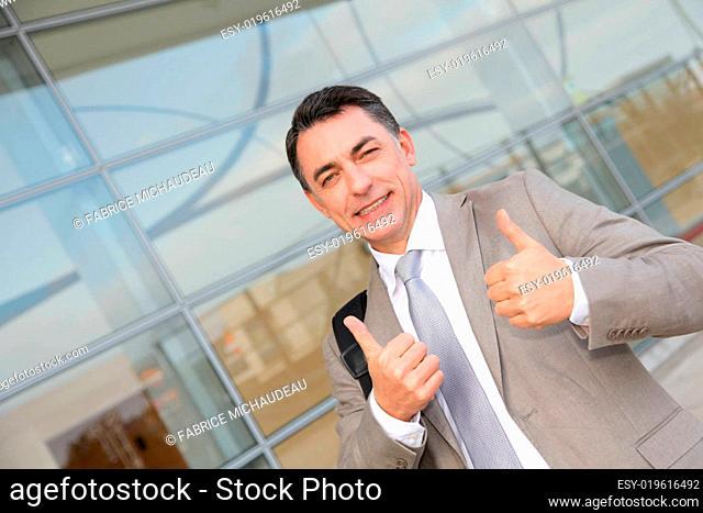 Salesman attending trade fair