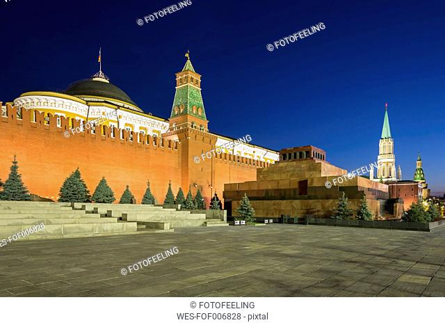 Russia, Central Russia, Moscow, Red Square, Saint Basil's Cathedral, Kremlin Wall, Kremlin Senate, Senate Tower, Spasskaya Tower and Lenin's Mausoleum in the...